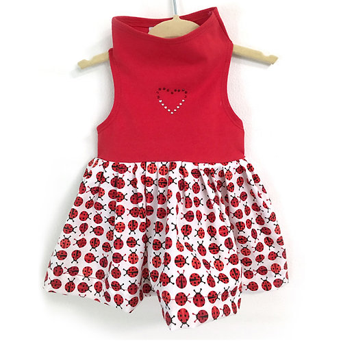 Red Top with Red & White Ladybug Print