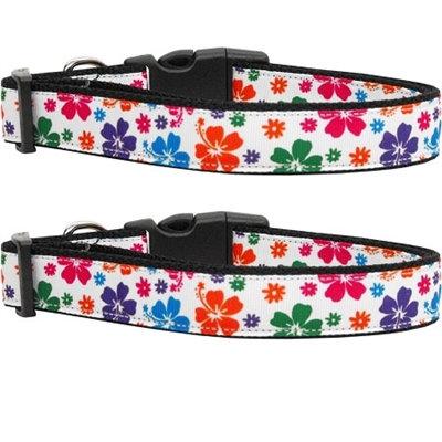 Multi-Colored Hawaiian Hibiscus Nylon Ribbon Collars & Leads