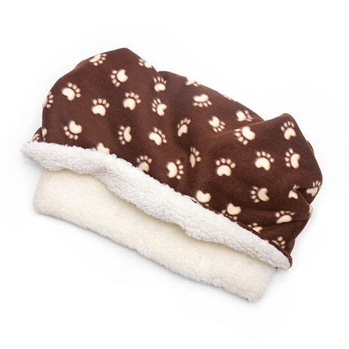 Brown Paw Printed Fleece Fabric Pocket Pet Bed