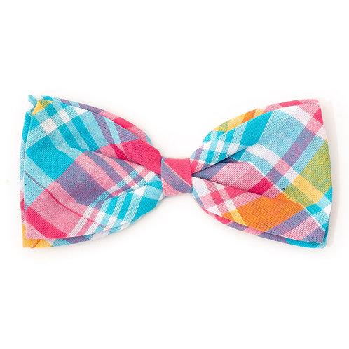 Madras Plaid Turquoise/Pink/Multi Bow Tie