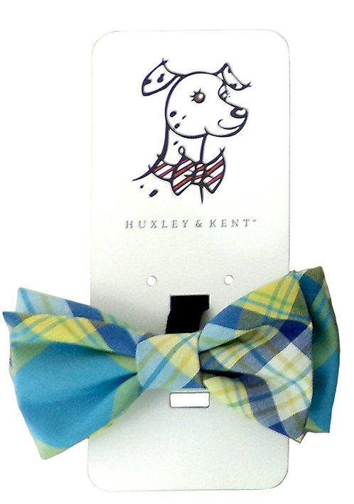 Turquoise Madras Bow Tie by Huxley & Kent