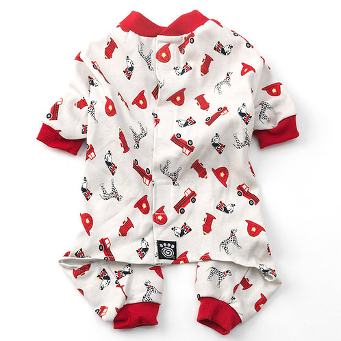 Firetruck PJs Cream with Red Trim from PetRageous® Designs!