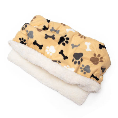 Tan Bones and Paws Printed Fleece Fabric Pocket Pet Bed