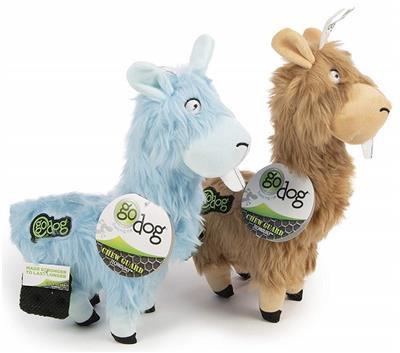 GoDog Furryz - Goofy Llamas Chew Guard Squeaky Plush Dog Toy 2 Pack