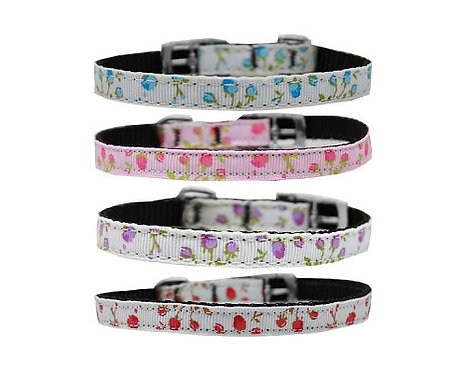 """Roses Nylon Collar with Classic Buckle - 3/8"""""""