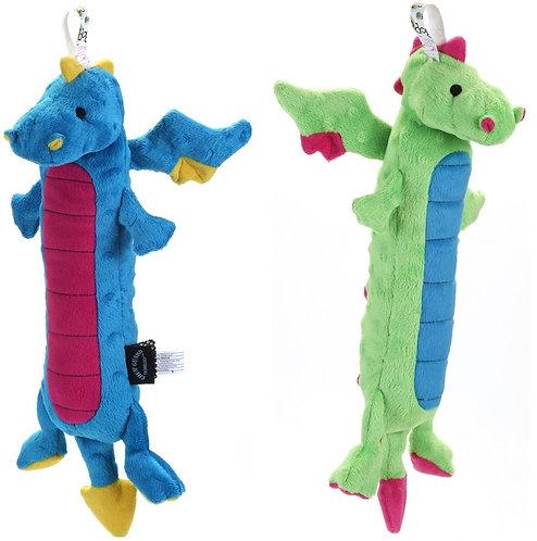 GoDog Skinny Dragons Chew Guard Squeaky Plush Dog Toy