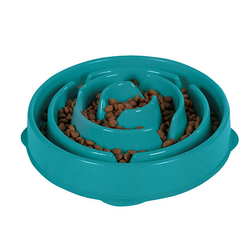 Fun Feeder Slo-Bowl - Teal by Outward Hound® from digPETS™