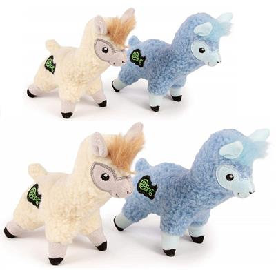 GoDog Fleece - Llama Chew Guard Squeaky Plush Dog Toy 2 Pack