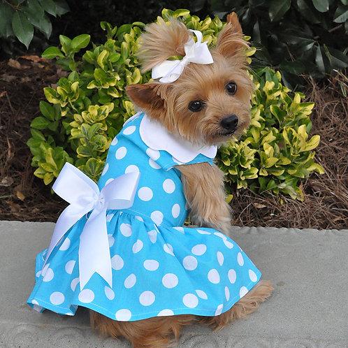 Blue Polka Dot Dress w/ Leash & D-Ring