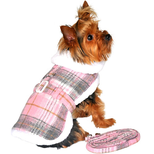 Designer Pink & White Plaid Harness Coat and Matching Leash from Doggie Design,