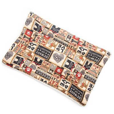 SALE!!!    Light Khaki Collage Cotton Fabric Flat Pet Bed