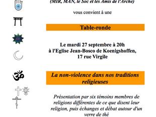Table ronde : la non-violence dans nos traditions religieuses 27/09/2016