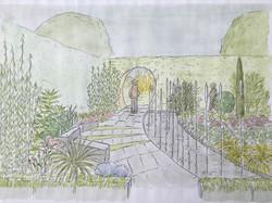 Transition garden between 2 areas