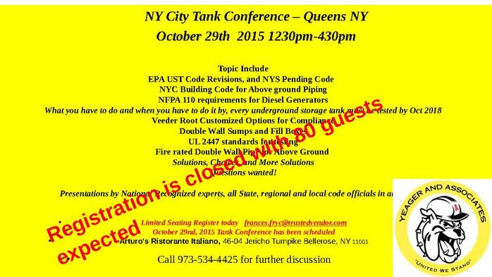 NYS Tank Seminar Update