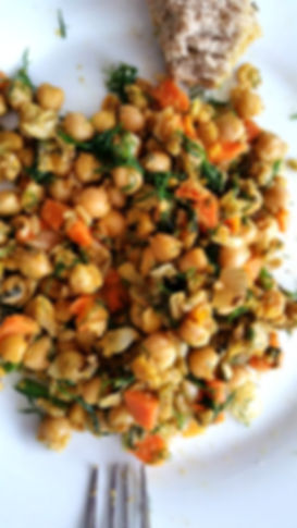 Chickpeas, Dill, Carrots and 220Trees Extra Virgin Olive Oil