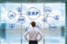 IT manager analyzing the architecture of ERP (Enterprise Resource Planning) system on virtual AR scr