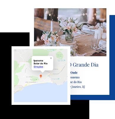 Exemplo de mapa em site de casamento