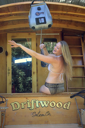 Vanessa Kitchin showering on the WaterWoody