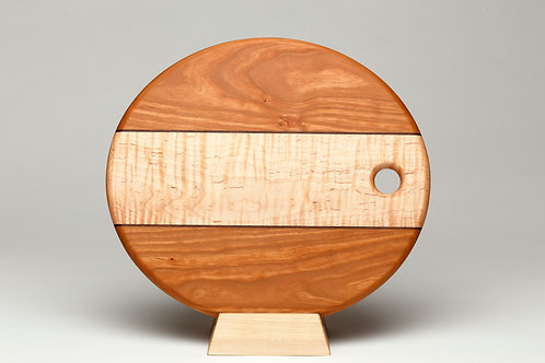 Oval Cherry and Curly Maple Cutting Board (#3)