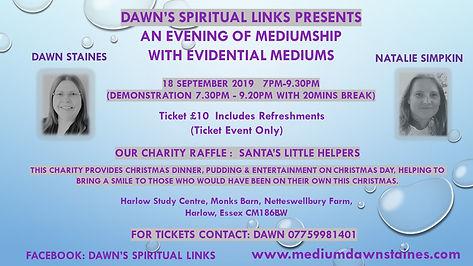 18.9.19 DAWN'S SPIRITUAL LINKS POSTER AD