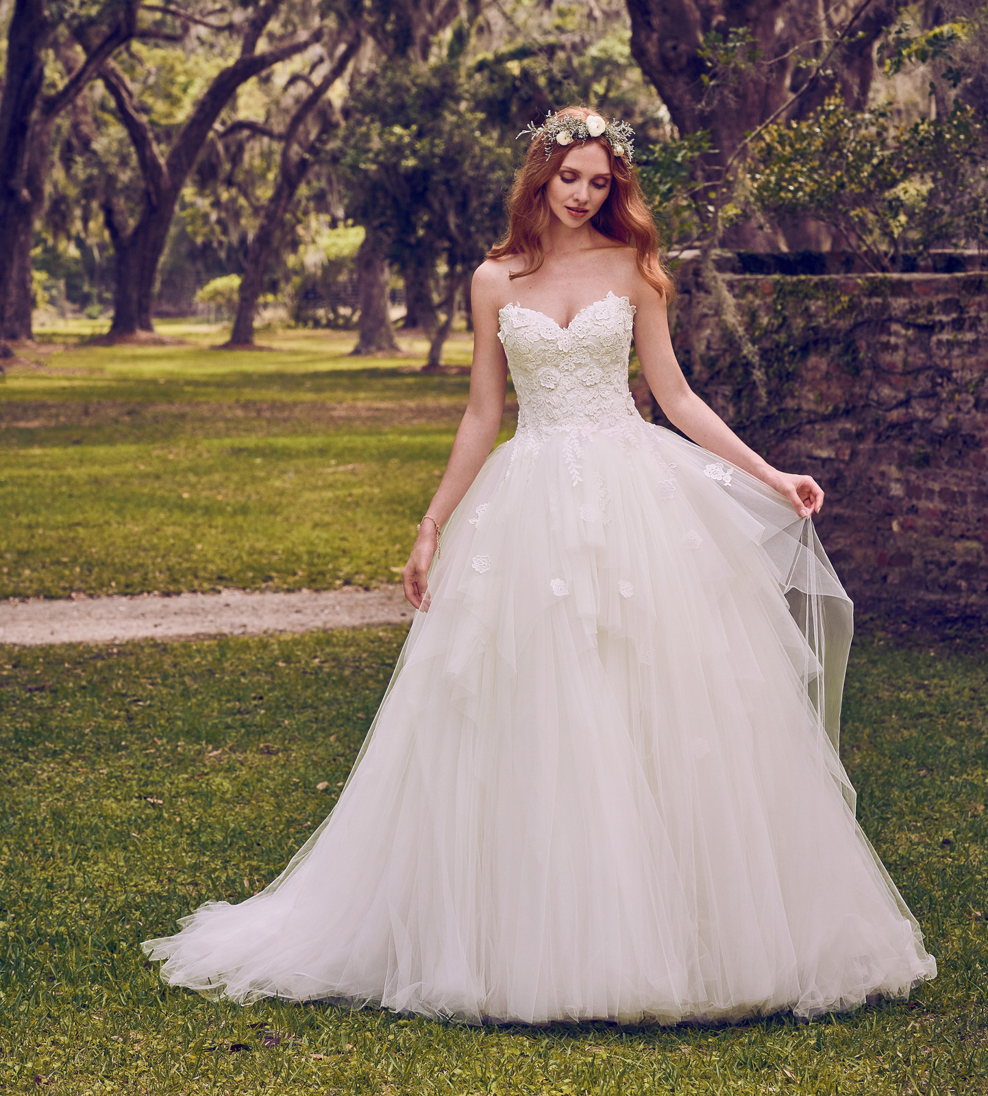 Bliss bridal bolton bridal gowns 3d floral lace motifs accent the bodice and sweetheart neckline in this princess wedding dress lightly cascading into a tiered tulle ballgown skirt ombrellifo Gallery