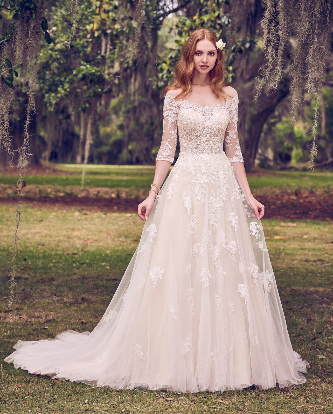 Bliss bridal bolton bridal gowns romantic lace motifs cascade over tulle in this illusion off the shoulder a line wedding dress lace motifs complete the illusion portrait neckline ombrellifo Gallery