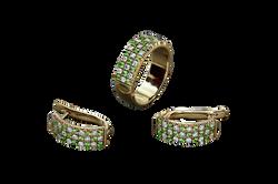 Комлект украшений. Зеленые гранаты