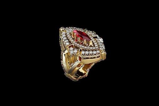 Золотое кольцо, украшенное камнем шпинель