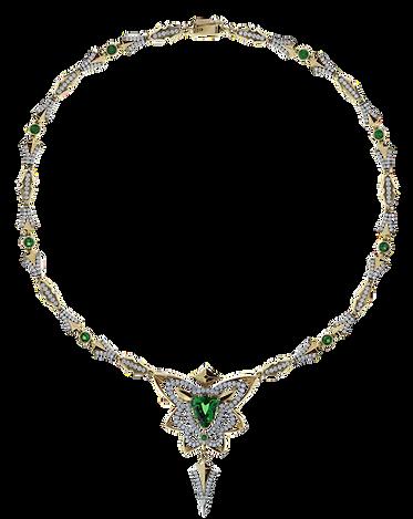 Золотое колье с бриллиантами и зеленым драгоценным камнем