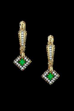 Золотые серьги с зеленым гранатом