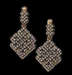 Золотые серьги с бриллиантами. Знак крысы. Богатств