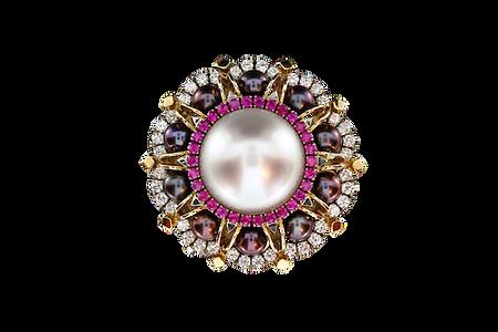 Золотое кольцо с крупной белой жемчужиной