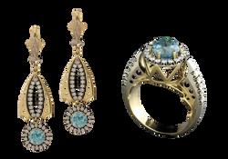 Набор ювелирных украшений с цирконом