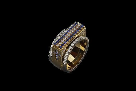 Золотое кольцо с синими сапфирами и бриллиантами