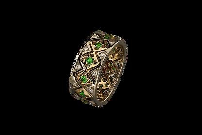 Золотое кольцо с зелеными гранатами