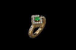 Кольцо. Зеленый гранат