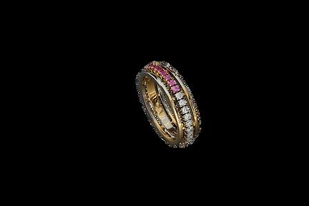 Золотое кольцо с розовыми сапфирами