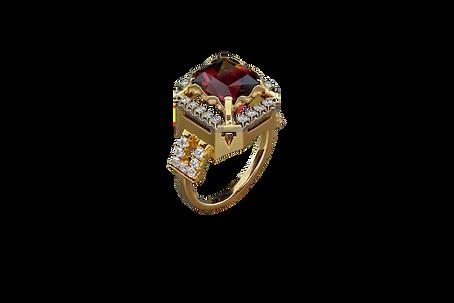 Золотое кольцо с алым турмалином и бриллиантами