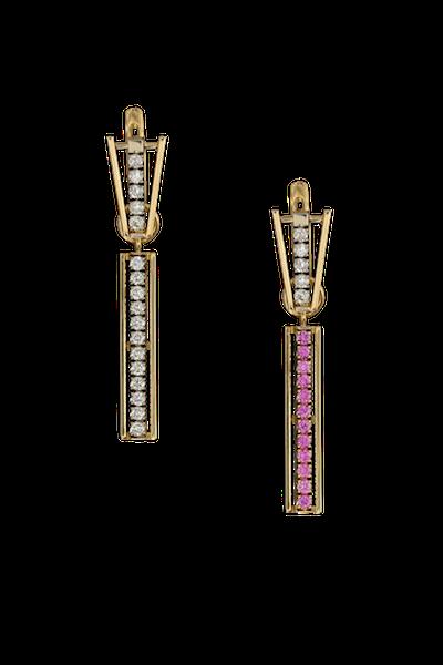 Золотые серьги с розовыми сапфирами