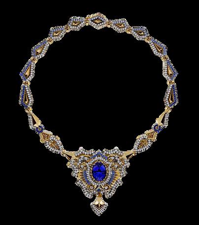 Золотое колье с синим драгоценным камнем