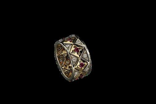 Золотое кольцо с красными гранатами