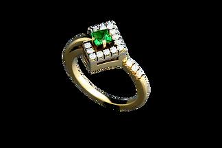 Золотое кольцо с зеленым гранатом и бриллиантами