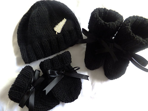 hat, bootees & mittens