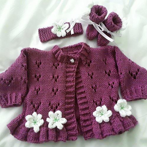 Option 26 lacy dark coloured cardigan + headband & boots