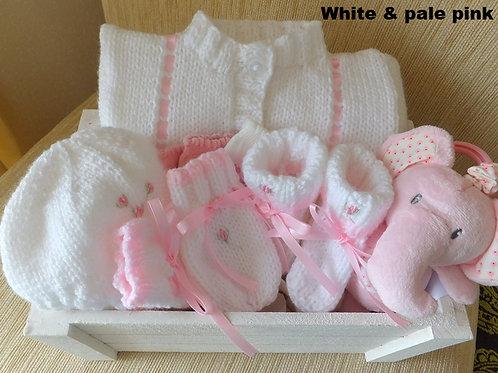 Girls hand knitted gift baskets