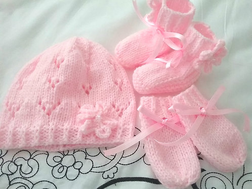 Option 12 matching hat, mittens & bootees