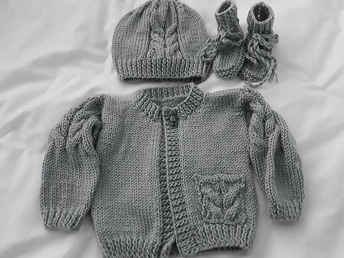 Option T cable cardigan, hat & boots