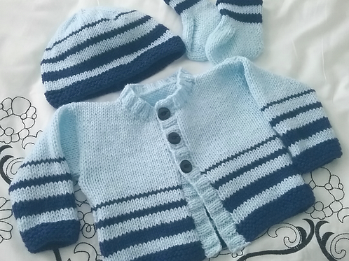 Option P snazzy stripe cardigan, hat & socks