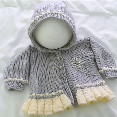 Option 19 cardigan with dandelion and hood
