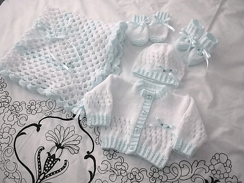 Option L3 Girls cardigan, pram cover, hat, mittens & booties